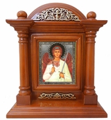 Guardian Angel, Kiot  Icon  in Wood Shrine with Glass