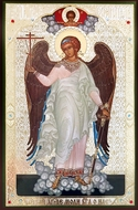 Guardian Angel,  Orthodox  Panel Icon with Crystals