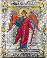 Guardian Angel, Serigraph  Icon in Silver  Gold Plated Riza