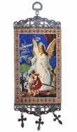 "Guardian Angel with Children,  Tapestry Icon Banner, `10"" H"