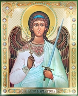 Guardian Angel with Sword, Gold / Silver Foiled Orthodox Icon