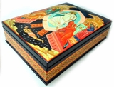 Hand Painted Lacquered  Box  with Resurrection of Christ  Icon