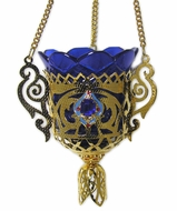 Hanging Lamp Gold Plated Enameled with 3 stones (Red)