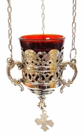 Hanging Oil Lamp, Silver Tone with Chain,  Made in Greece