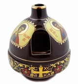 Ceramic Standing Oil Lamp with Lid, Heat Proof, Maroon