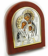 Holy Family, Orthodox Silver Oklad  Icon in  Wooden Frame