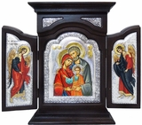 The Holy Family, Serigraph Orthodox Triptych in Wood Shrine