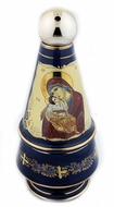 Holy Water & Incense Ceramic Bottle with Incense, Dark Blue