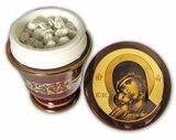 Incense Ceramic Container  with Icon of Virgin Mary, Red