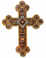 Inlaid Wooden Wall Cross with Mother of Pearl and Beads