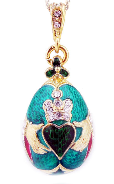Irish claddagh green faberge style egg pendant at holy trinity store view large image mozeypictures Gallery