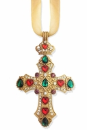 Jeweled Cross Ornament  with Gold Ribbon