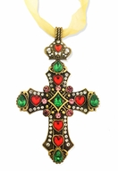 Jeweled Cross Ornament  with Gold Ribbon. Antique Finish