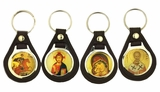 Key Chain with Icon, Set of 4 Pcs, Imitated Leather.