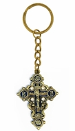 Key Chain with Metal Cross and Corpus Crucifix