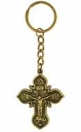 Key Chain with Metal Cross and Crucifix