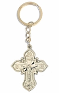 Key Chain with Silver Tone Metal Cross and Corpus Crucifix