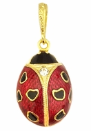 Lady Bug Egg Pendant, Sterling Silver 925, Gold Plated, Small