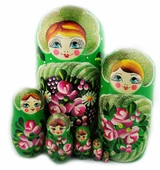 "Large Matreshka 7 Nesting Doll, Hand Painted, ""Floral"" Design, Green"