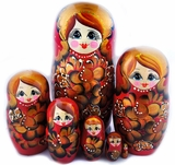 "Large Matreshka 7 Nested Doll, Hand Painted, ""Flower"" Design, Red"