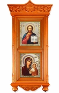 Large Wooden Shrine with Icons Virgin of Kazan and Christ The Teacher