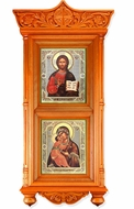 Large Wooden Shrine with Icons Virgin of Vladimir and Christ The Teacher