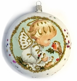 """Little Angel"", Christmas Circle Ornament Decorated With Stars"