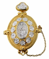 Locket Panagia Christ/Apostles Opens to Christ & Virgin Mary