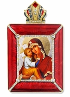 Madonna and Child Icon in Square Style Frame with Stand