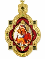Madonna and Child, Jeweled  Icon Pendant with Chain