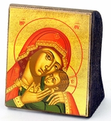 Madonna & Child, Byzantine Serigraph Greek Mini Icon, Bronze Leaf