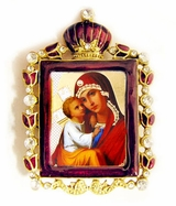 Madonna & Child  Enamel Framed Icon Pendant with Bow and Chain