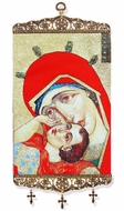 Madonna & Child, Textile Art  Tapestry Icon Banner, Large