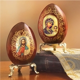 Matching Set of Wooden Eggs with Stand