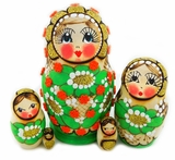 Matreshka 5 Nested Doll,  Beaded, Hand Carved, Green