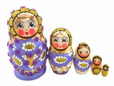 Matreshka 5 Nested Doll,  Beaded, Hand Carved, Purple
