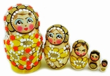 Matreshka 5 Nesting Doll,  Beaded, Hand Carved, Yellow