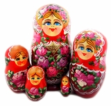 "Matreshka 5 Nesting Wood Doll, ""Floral"" Style, Hand Painted, Red"