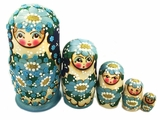Matreshka 5 Nesting Doll,  Beaded, Hand Carved, Blue