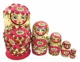 Matreshka 5 Nesting Doll,  Beaded, Hand Carved, Pink