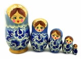 "Matreshka 5 Nesting Doll, Hand Painted, ""Floral"" Design, Blue"