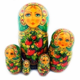 Matreshka 5 Nesting Doll, Hand Painted, High Quality, Assorted