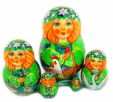 Matreshka 5 Nesting Doll, Hand Painted, High Quality For Collectors
