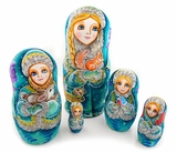 Matreshka 5 Nesting Doll With Assorted Scenes, Hand Painted