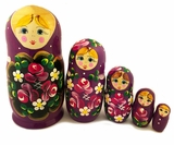 Matreshka 5 Nested Dolls, Hand Painted, Hand Carved