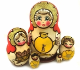 "Matreshka 5 Nesting Dolls, ""Samovar"", Hand Painted, Linden Wood"