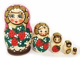 "Matreshka 5 Nesting Dolls, ""Strawberries"" Design, Hand Painted"