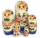 "Matreshka 5 Nesting Dolls, ""Sunflowers"", Hand Painted"