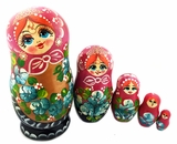 "Matreshka 5 Nesting Wood Doll, ""Floral"" Style, Hand Painted"