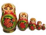 "Matreshka 5 Nesting Wood Doll, ""Rowan"" Design, Hand Painted"